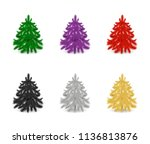 set of colorful fir trees or...   Shutterstock .eps vector #1136813876