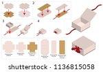 ribbon rigid box mockup with... | Shutterstock .eps vector #1136815058