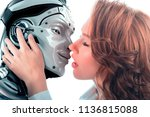 girl kissing a robot | Shutterstock . vector #1136815088