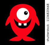 cute red monster icon. happy... | Shutterstock .eps vector #1136820668