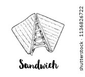 sandwich with melted cheese.... | Shutterstock .eps vector #1136826722