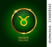 horoscope. taurus. zodiac icon. ... | Shutterstock .eps vector #1136828162