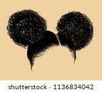 double curly buns illustration. ... | Shutterstock .eps vector #1136834042