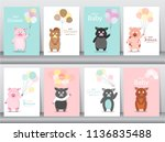 set of baby shower invitations... | Shutterstock .eps vector #1136835488