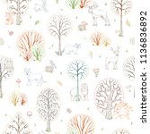 vector outline woodland... | Shutterstock .eps vector #1136836892