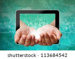 Woman hand pushing on touch screen interface on medical background - stock photo