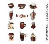 colored coffee collection. hand ... | Shutterstock .eps vector #1136846402