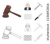 judge  wooden hammer  barbed...   Shutterstock .eps vector #1136852816