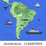 stylized map of south america...   Shutterstock .eps vector #1136853905