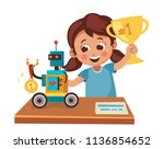 girl wins competition on... | Shutterstock .eps vector #1136854652