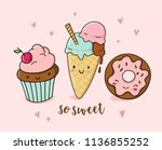 cute funny food illustration... | Shutterstock .eps vector #1136855252