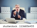 furious mad elderly male in... | Shutterstock . vector #1136856455