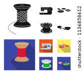 thread reel  sewing machine ... | Shutterstock .eps vector #1136858612