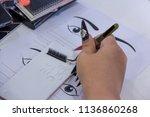 practice eyelash   extension on ...   Shutterstock . vector #1136860268
