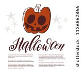 halloween greeting card and... | Shutterstock .eps vector #1136862866