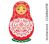 matryoshka dolls icon vector ... | Shutterstock .eps vector #1136866958