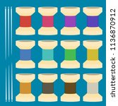 flat bobbin set with needle... | Shutterstock .eps vector #1136870912