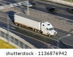 large truck with a trailer on... | Shutterstock . vector #1136876942