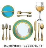 set a formal dinner table in... | Shutterstock .eps vector #1136878745