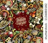 cartoon vector doodles italian... | Shutterstock .eps vector #1136883182