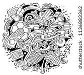 cartoon vector doodles football ...   Shutterstock .eps vector #1136883362