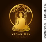 vesak day banner with  gold... | Shutterstock .eps vector #1136883542