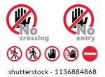 stop sign no crossing no entry... | Shutterstock .eps vector #1136884868