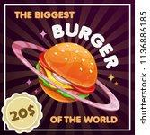 burger planet illustration. the ... | Shutterstock .eps vector #1136886185