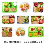 set of serving trays and boxes... | Shutterstock . vector #1136886395