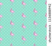 cute seamless flamingo pattern... | Shutterstock .eps vector #1136888942
