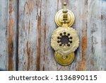 old handmade ottoman door... | Shutterstock . vector #1136890115