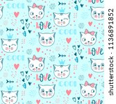 vector fashion cat seamless... | Shutterstock .eps vector #1136891852