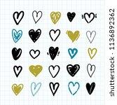 doodle heart icons set. hand... | Shutterstock .eps vector #1136892362