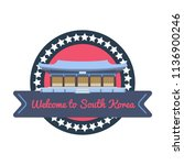 korean welcome sticker in flat... | Shutterstock .eps vector #1136900246
