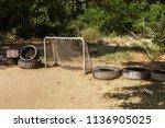 abandoned poor rural stadium ... | Shutterstock . vector #1136905025