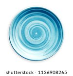 empty blue ceramic plate with... | Shutterstock . vector #1136908265