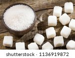 white granulated sugar and... | Shutterstock . vector #1136919872