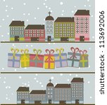 cute buildings with gifts and... | Shutterstock .eps vector #113692006