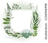 wedding invitation frame  with... | Shutterstock .eps vector #1136946998