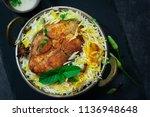 homemade fish biryani served...   Shutterstock . vector #1136948648