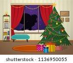 new year cozy living room....   Shutterstock .eps vector #1136950055