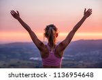 young woman on top of the... | Shutterstock . vector #1136954648