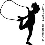 a girl jumping rope  silhouette ... | Shutterstock .eps vector #1136963942