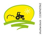 tractor in the field icon local ... | Shutterstock .eps vector #1136965562