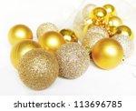 gold christmas balls | Shutterstock . vector #113696785