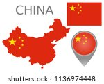 colorful flag  map pointer and... | Shutterstock .eps vector #1136974448