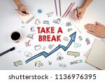 take a break concept with icons.... | Shutterstock . vector #1136976395