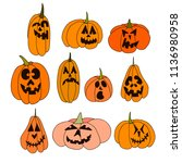 collection of pumpkins of...   Shutterstock .eps vector #1136980958