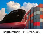 ship with container in shipping ... | Shutterstock . vector #1136985608