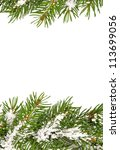 christmas framework with snow... | Shutterstock . vector #113699056